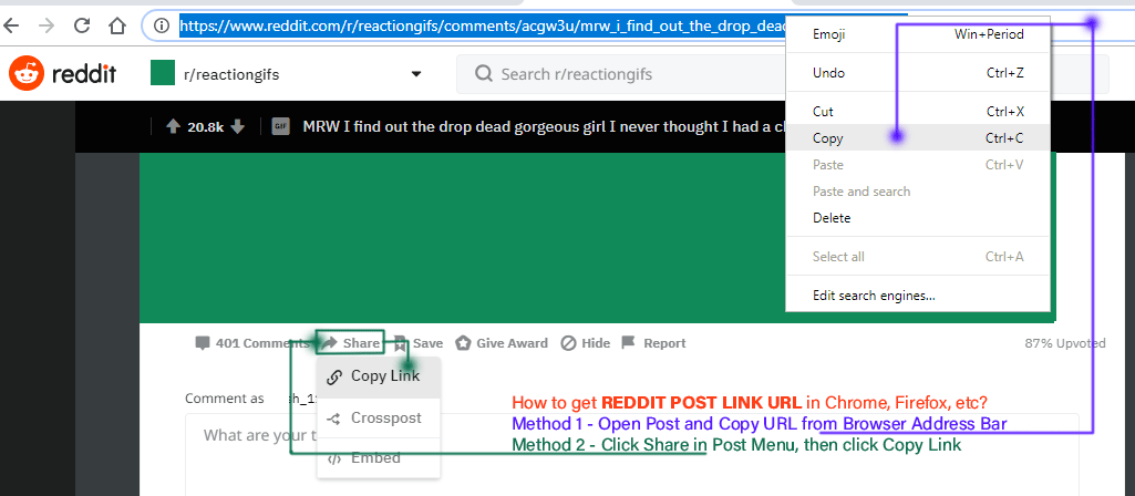 how to get reddit post link on pc
